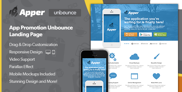 Apper – App Promotion Unbounce Landing Page nulled