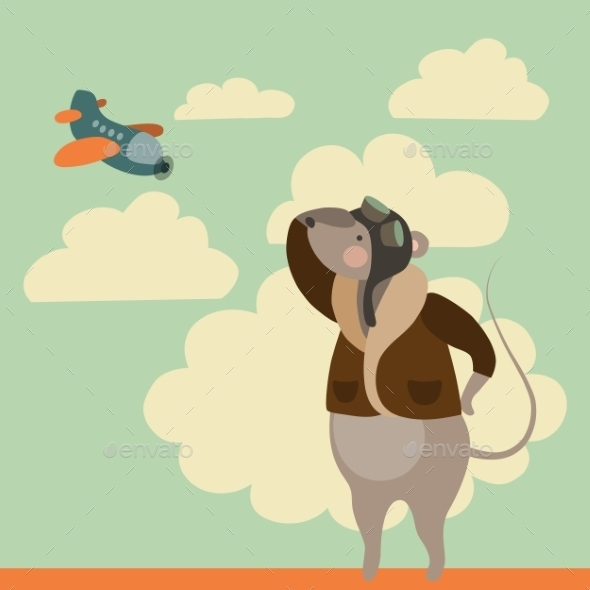 Cartoon Mouse in Pilot Uniform - Travel Conceptual