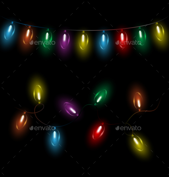 Variations of Christmas Lights Garlands - Backgrounds Decorative