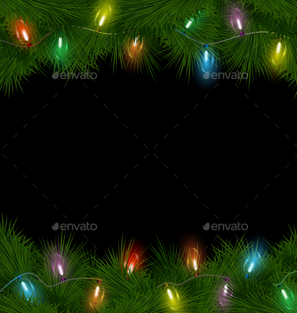 Multicolored Christmas Lights on Pine Branches - Backgrounds Decorative