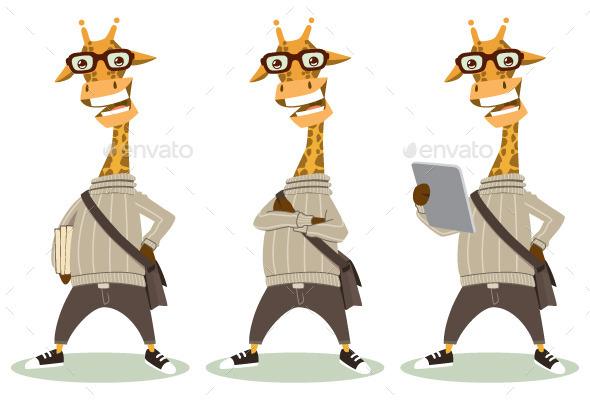Hipster Giraffe - Animals Characters