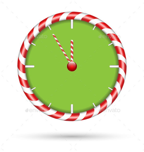 Candy Cane Clock - Backgrounds Decorative