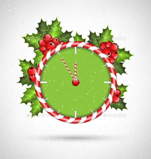 Candy Cane Clock with Holly  - Backgrounds Decorative