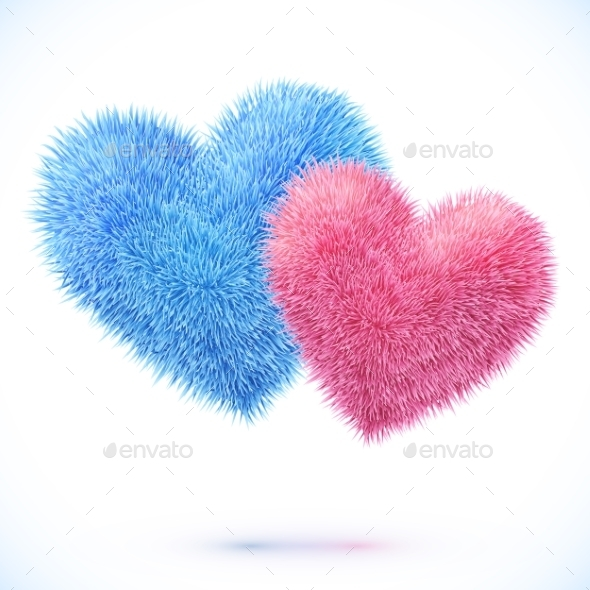 Pair of Fluffy Hearts - Valentines Seasons/Holidays