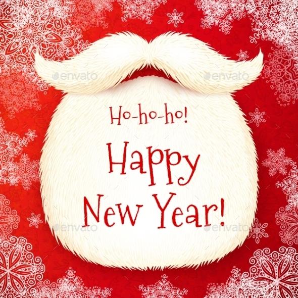 Santa's Beard with Happy New  Year - Christmas Seasons/Holidays