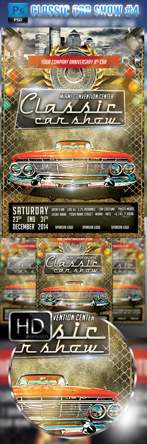 Classic Car Show Flyer #4 - Events Flyers