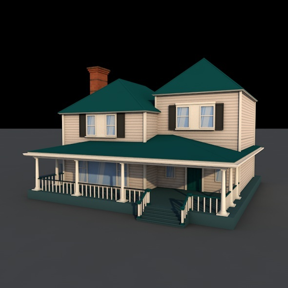 american low-poly country house - 3DOcean Item for Sale