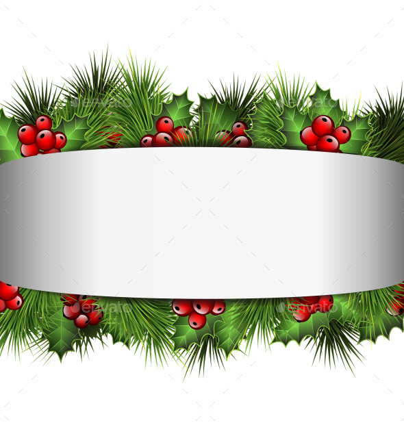 Blank Frame with Holly Sprigs and Pine Branches - Backgrounds Decorative