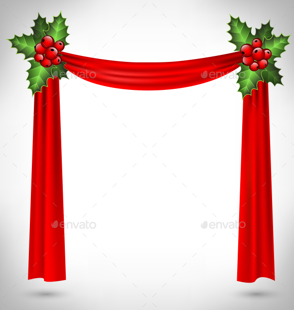Holly with Red Curtains - Backgrounds Decorative