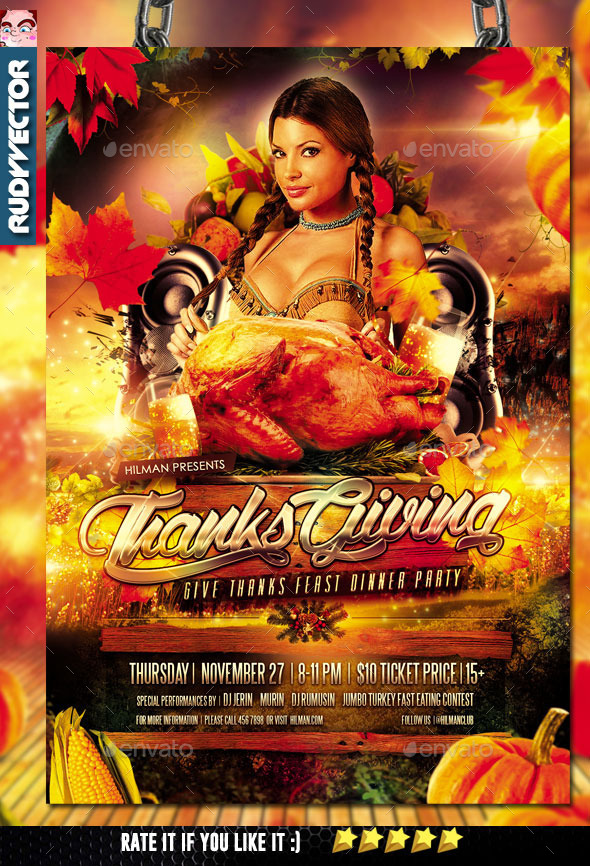 Thanksgiving Party Flyer - Holidays Events
