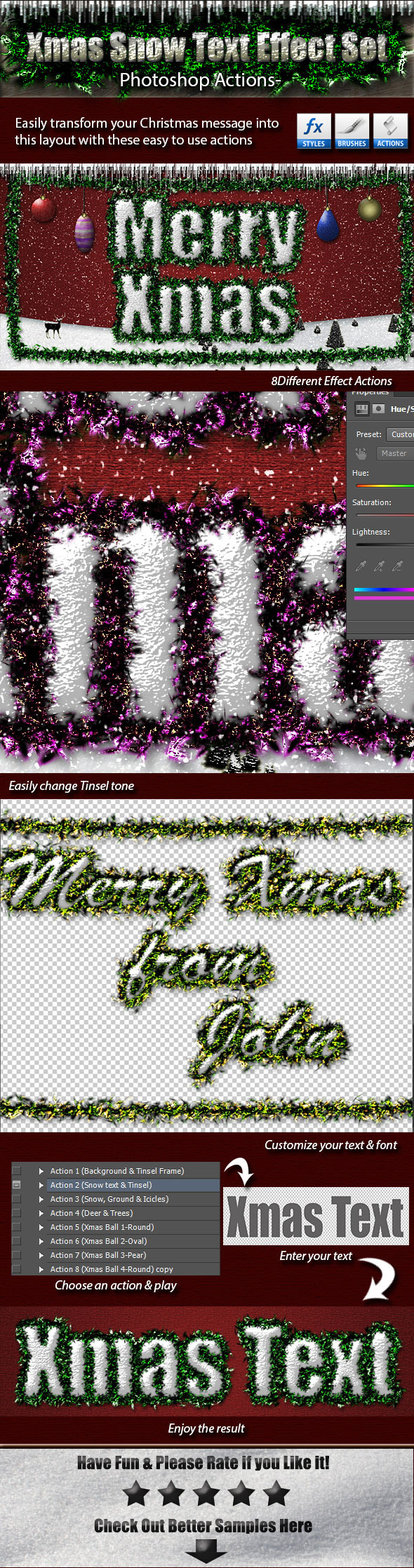 Xmas Snow Text Effect Set - Text Effects Actions