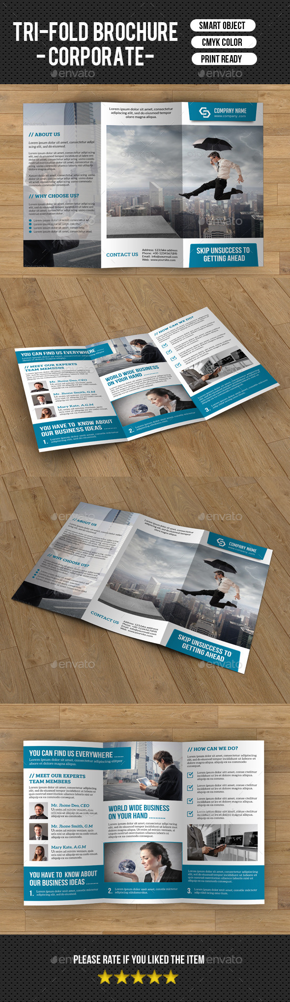 Trifold Corporate Brochure Template-v189 - Brochures Print Templates