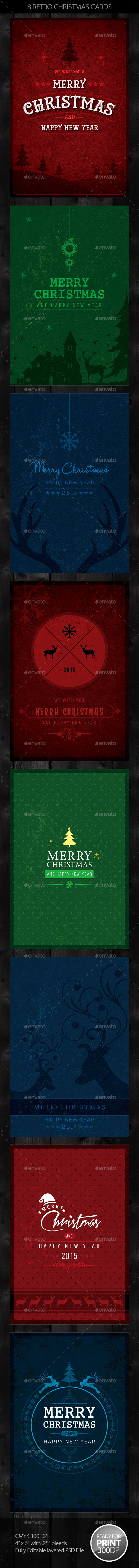 8 Retro Christmas Cards / Invite - Holiday Greeting Cards