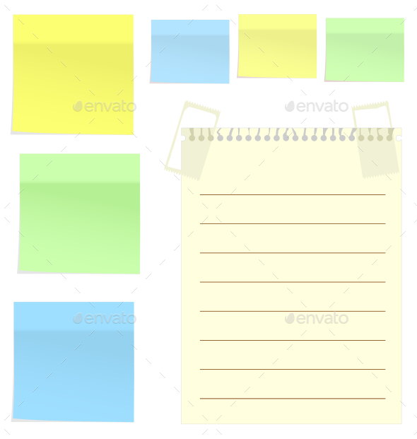 Set of Multicolor Stickers for Note on White - Backgrounds Decorative