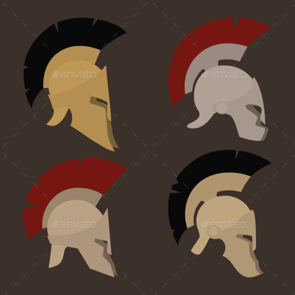 Four Antique Helmets - Man-made Objects Objects
