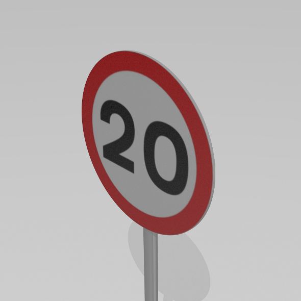 20 Speed limit sign - 3DOcean Item for Sale