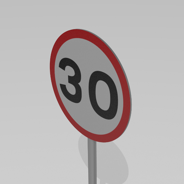 30 Speed limit sign - 3DOcean Item for Sale