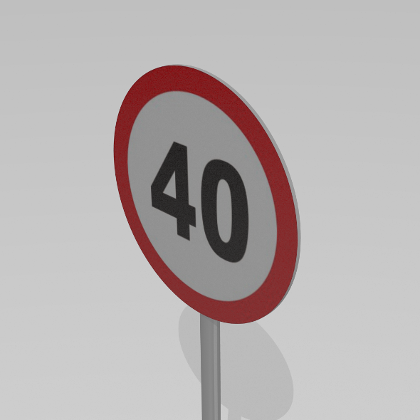 40 Speed limit sign - 3DOcean Item for Sale
