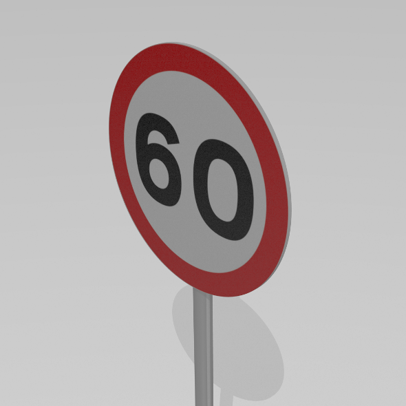 60 Speed limit sign - 3DOcean Item for Sale