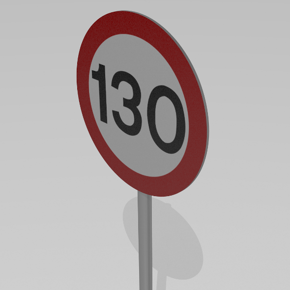 130 Speed limit sign - 3DOcean Item for Sale