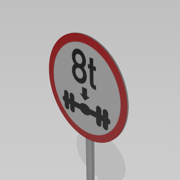 8 ton on axle sign - 3DOcean Item for Sale