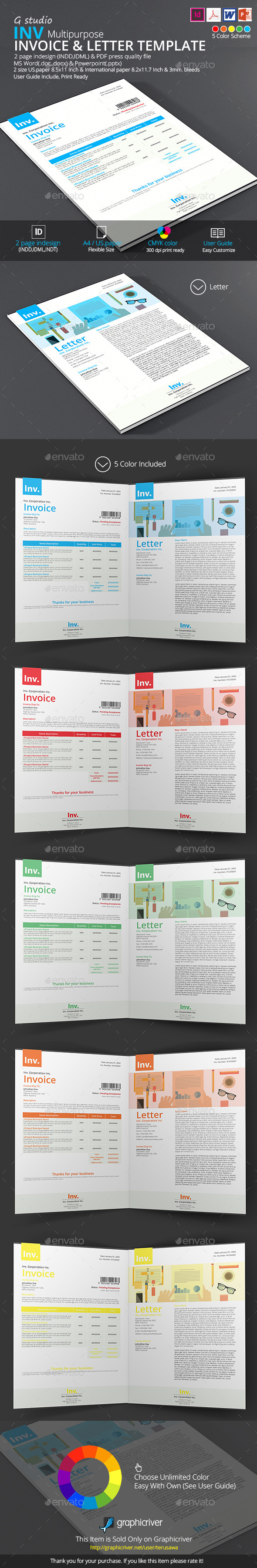 Inv Invoice And Letter Template - Proposals & Invoices Stationery