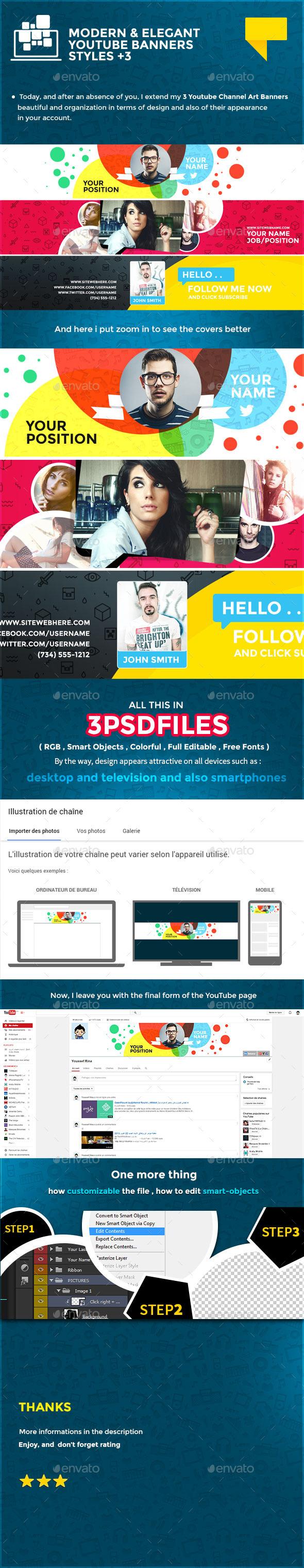 3 Elegant Youtube Banners - YouTube Social Media
