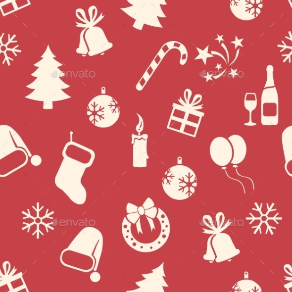 Seamless New Year and Christmas Pattern - New Year Seasons/Holidays