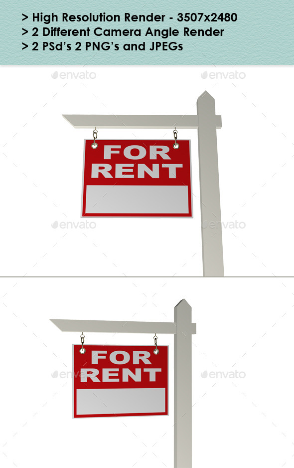 Real Estate Rent Sign - Architecture 3D Renders