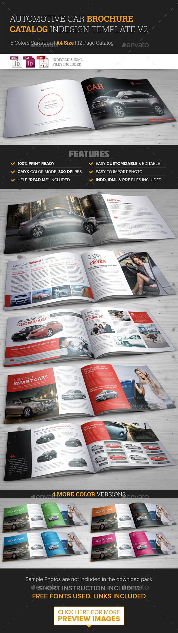 Automotive Car Brochure Catalog InDesign Template  - Catalogs Brochures