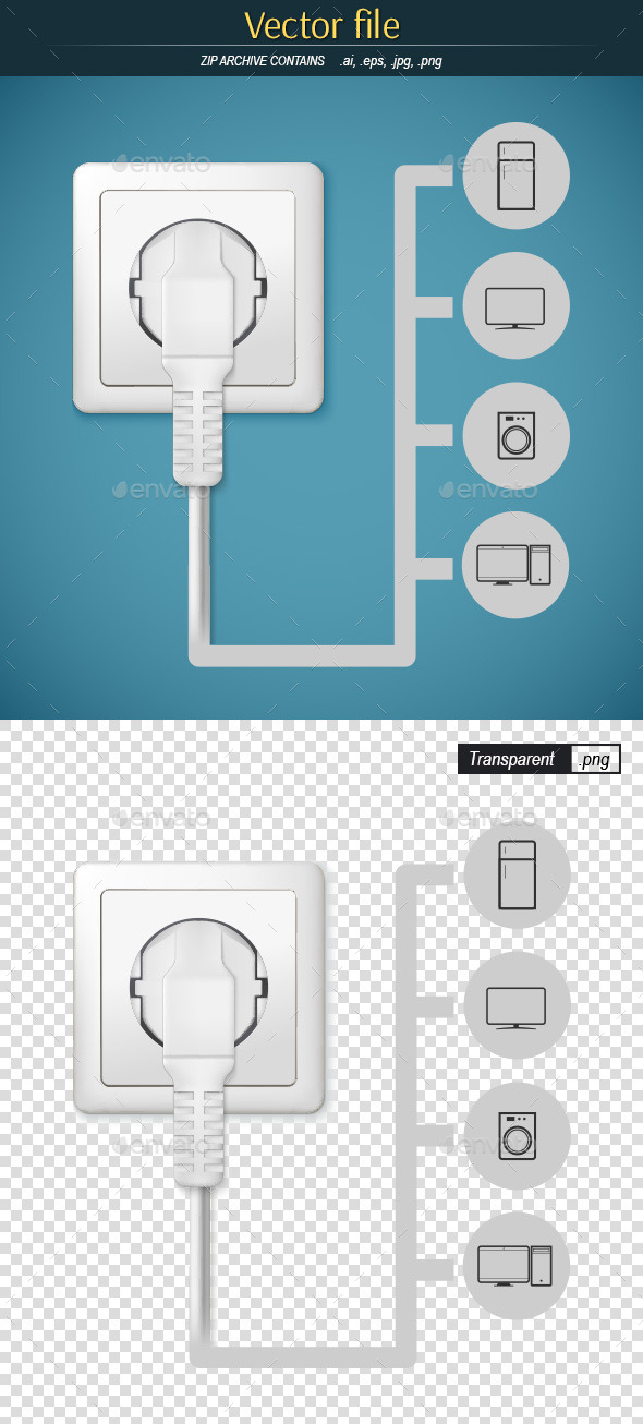Plug with Gadgets Icons  - Technology Conceptual