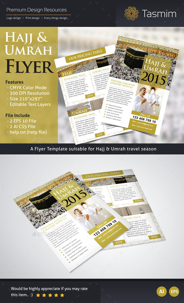 Hajj 2015 Flyer Template (Front & Back) - Holidays Events