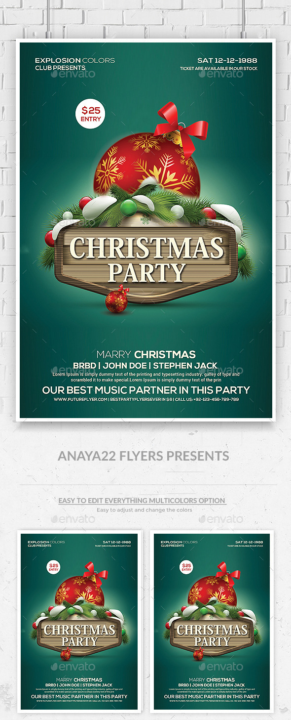Christmas Party Flyer Psd Template - Clubs & Parties Events