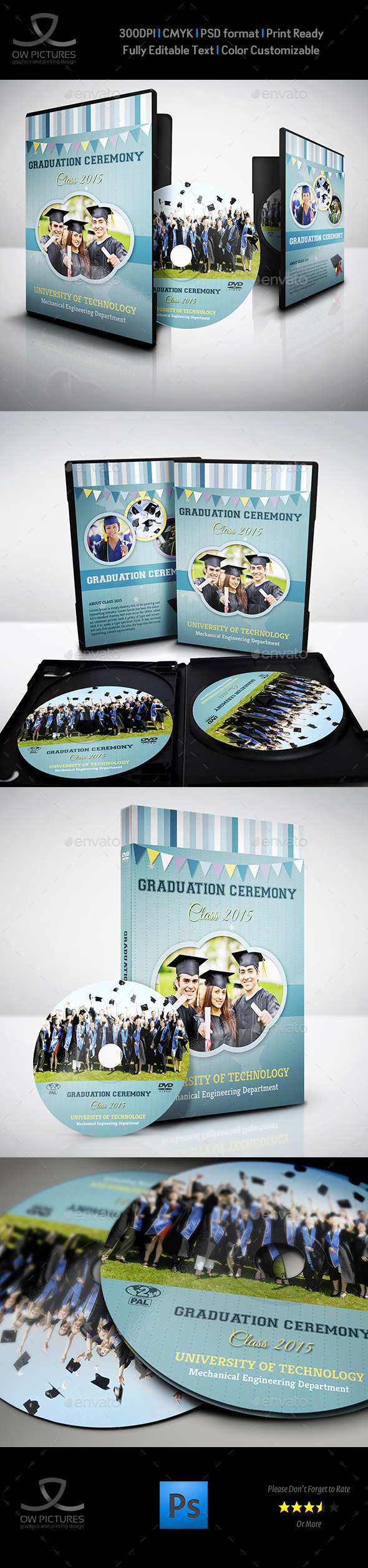 Graduation Ceremony DVD Cover and Label Template - CD & DVD Artwork Print Templates