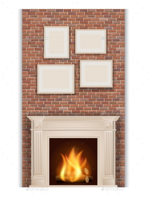 Classic Fireplace - Objects Vectors