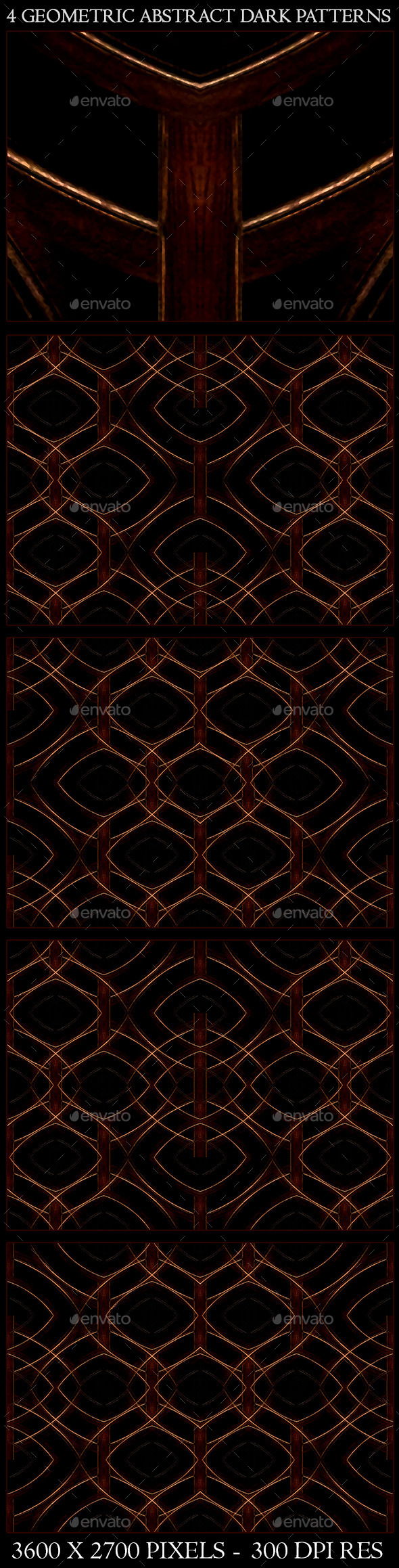 4 Geometric Abstract Dark Patterns - Patterns Backgrounds