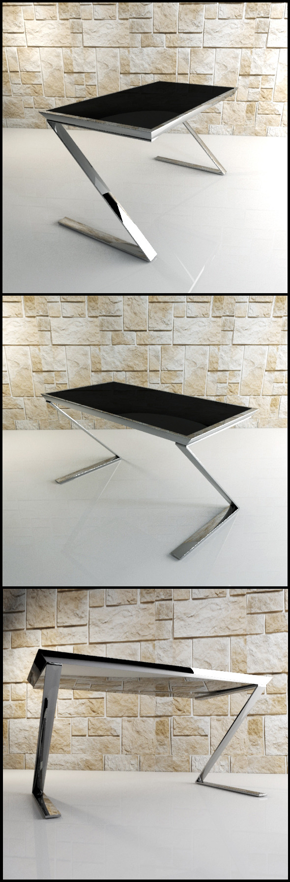 Z Desk: Black glass and chrome office desk. - 3DOcean Item for Sale