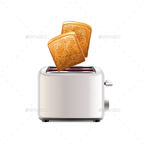 Toaster with Toast - Food Objects