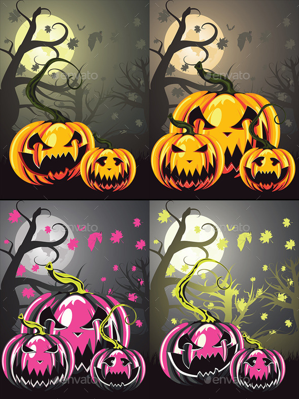 Scary Pumpkins in Forest - Halloween Seasons/Holidays