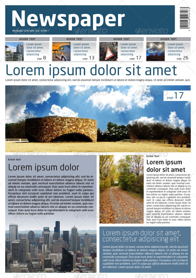 Newspaper Template A4 And A3 Format 10 Pages By Grga_Atree