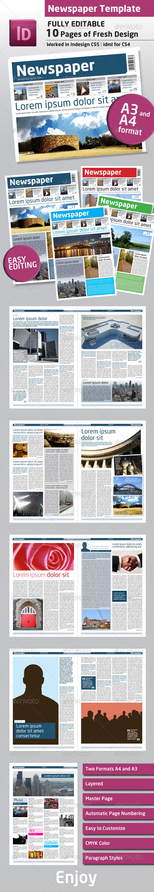 Newspaper Template A4 And A3 Format 10 Pages By Grgaatree