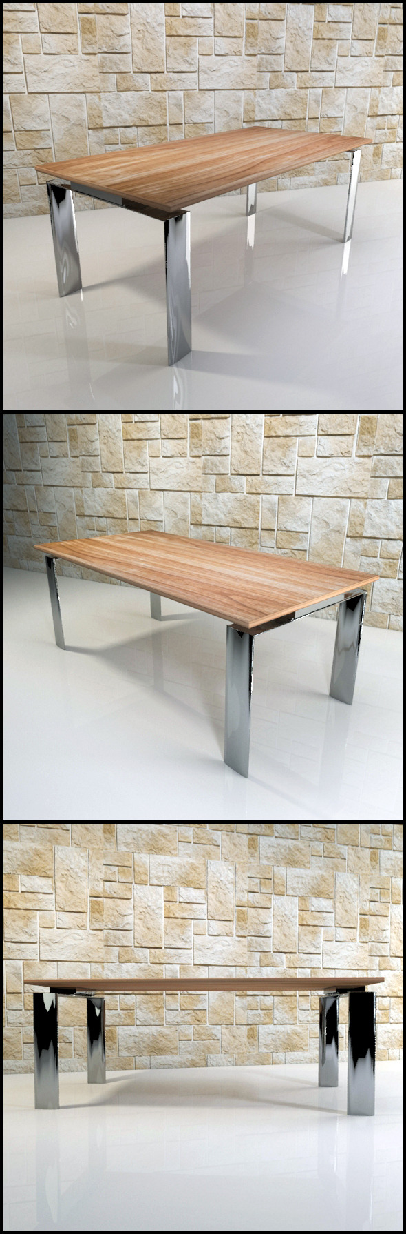 Dining table (chrome and wood) - 3DOcean Item for Sale
