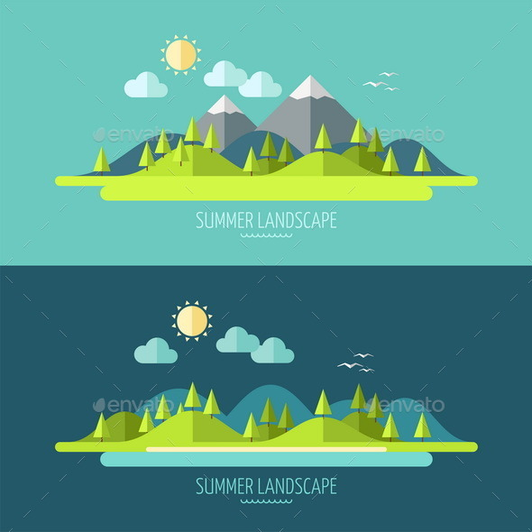 Flat Design Nature Landscape - Landscapes Nature