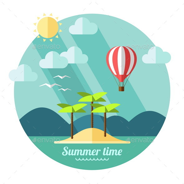 Summer Landscape in Flat Style - Landscapes Nature