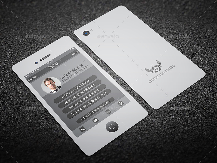 Smartphone style business card by cristalp graphicriver smartphone style business card real objects business cards screanshot 01g reheart Image collections