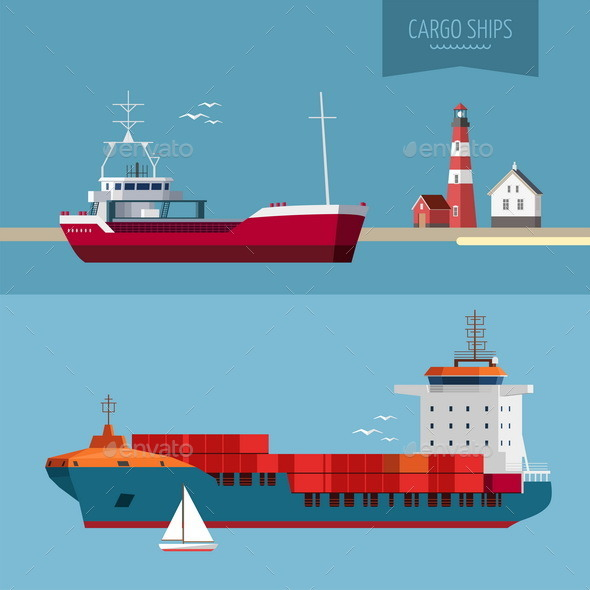Transportation Cargo Ship Illustration - Miscellaneous Vectors