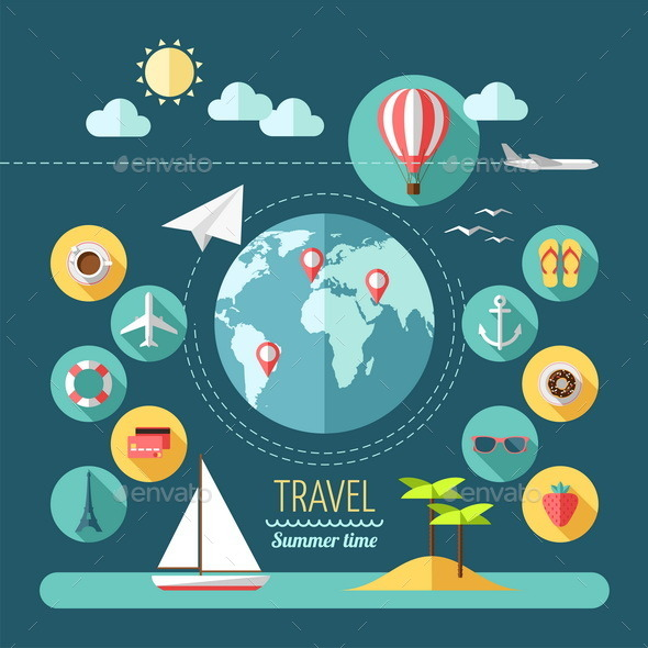 Icons Set of Planning a Summer Vacation - Travel Conceptual
