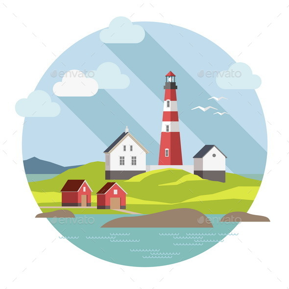 Lighthouse on the Landscape - Buildings Objects
