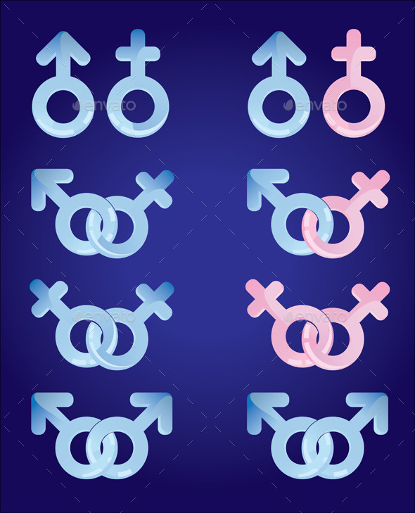 Male and Female Signs Set - Decorative Symbols Decorative