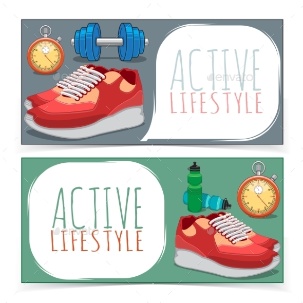 Active Lifestyle Banners. - Backgrounds Decorative